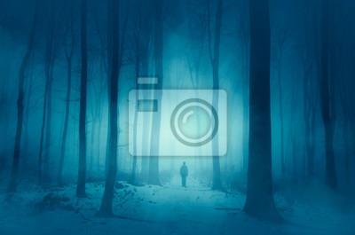 mężczyznę idącego magiczną zimową śnieżną ścieżką w lesie
