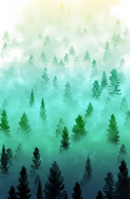 Naklejka mglisty krajobraz las