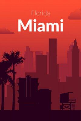 Miami, USA famous city scape view background.