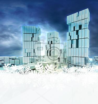 Miasto Biznes na zachodzie słońca światło dzienne z płatka śniegu ramki