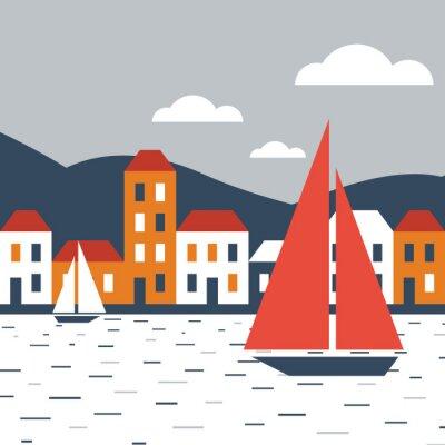Naklejka Miasto nad morzem