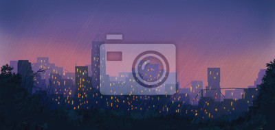 miasto nocą w deszczu