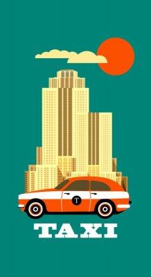 Naklejka Miasto Taxi poster