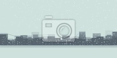 Miasto zima ze śniegiem, widok krajobrazu / minimalistyczna malowanie /