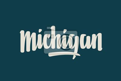 Michigan City USA Państwo Słowo Logo Nazwa Ręcznie malowane Szczotka Szablon Logo Kaligrafia Szablon