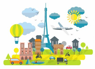 Naklejka Mieszkanie projektowania ilustracji z wieży Eiffla w Paryżu Miasta