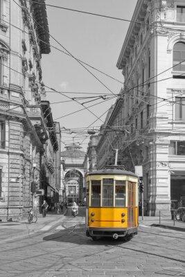 Naklejka Milano con tram in piazza cordusio e sfondo galleria vittorio emanuele lombardy italy