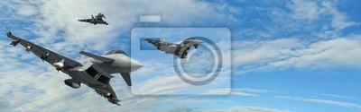 Naklejka military fighter jets - modern armed military fighter jets flys in formation