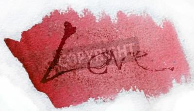 miłość malowana, słowo miłość ręcznie malowane, artystyczne słowo miłość, ręcznie malowane pędzlem napis na akwarela tekstury, ponownie, z białym tłem.