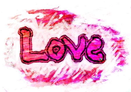 miłość malowana, słowo miłość ręcznie malowane, artystyczne słowo miłość, ręcznie robiony napis pędzla z granicy na tekstury czerwony i magenta z białym tłem.
