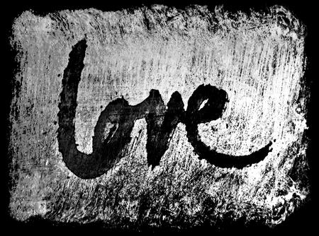 miłość malowana, słowo miłość ręcznie malowane, artystyczne słowo miłość, szorstki malowane pędzlem napis na grunge tekstury, szarości i czarne tło