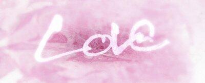 miłość malowana, słowo miłość ręcznie malowane, miłość artystyczna słowo, szorstki pędzel napis na pomalowanej fakturze organicznej, czerwony odcień, winieta rozmycia.
