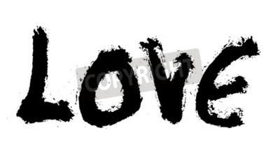 miłość malowane, słowo miłość ręcznie malowane, miłość artystyczna słowo, szorstki napis pędzlem malowane, białe tło.