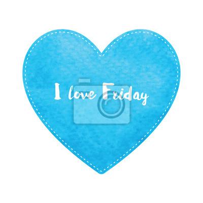 Miłość piątek tekst na niebieskim akwarela serca