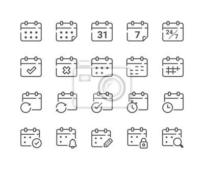 Minimalny zestaw ikon kalendarza i harmonogramu linii
