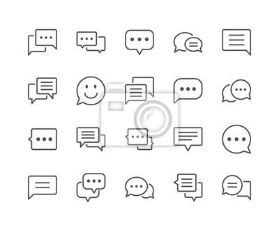 Minimalny zestaw ikon linii bańki rozmów