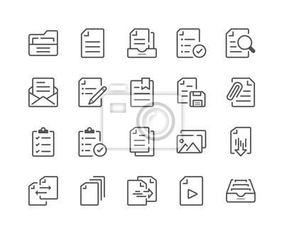 Minimalny zestaw ikon linii dokumentów i plików