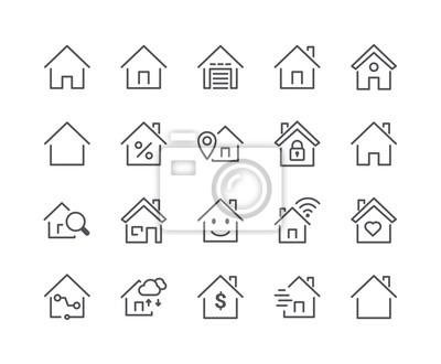Minimalny zestaw ikon linii inteligentnego domu