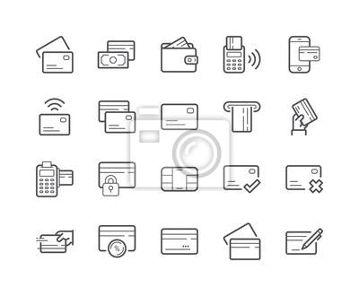 Minimalny zestaw ikon linii karty kredytowej