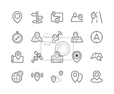 Minimalny zestaw ikon linii mapy i lokalizacji