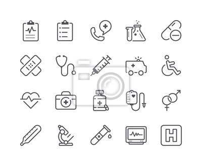 Minimalny zestaw ikon linii medycznych i zdrowotnych