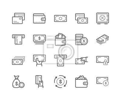 Minimalny zestaw ikon linii pieniędzy. Skok edytowalny.