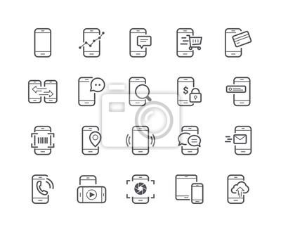Minimalny zestaw ikon linii telefonów komórkowych