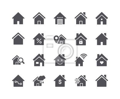 Minimalny zestaw Smart Home Flat Icon