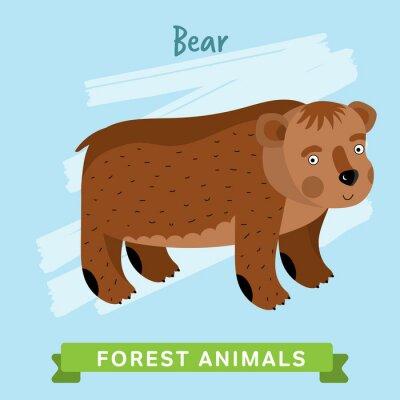 Naklejka Miś rastrowych. Dzikie i leśne zwierzęta. Cartoon znaków ilustracji. Funny Zwierząt.