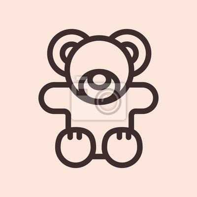 Miś zabawka minimalistyczna płaska linia koło solidny obrys ikona piktogram symbol