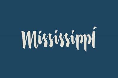 Mississippi City USA Słowo Logo Słowo Ręcznie malowane Szczotka Szablon Logo Kaligrafii
