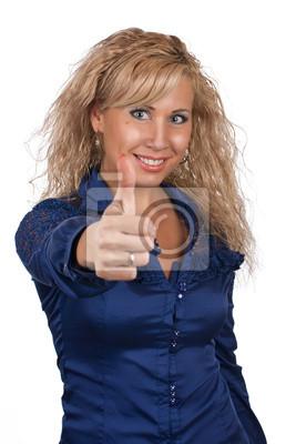 Młoda dziewczyna pokazuje kciuk