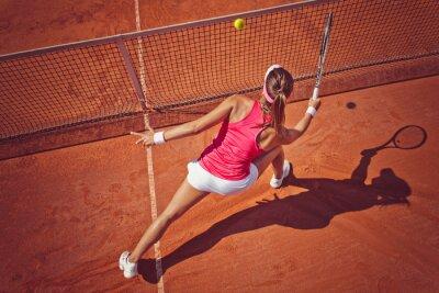 Naklejka Młoda kobieta, grając tennis.High kąt view.Forehand salwę.
