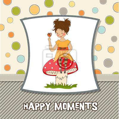 Naklejka młoda, ładna dziewczyna siedzi na grzyby
