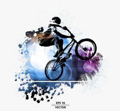 Naklejka Młoda męska skoczek rowerowy. Zdrowy tryb życia. Wektor