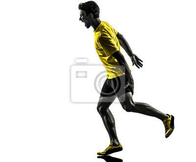 Młody mężczyzna lekkoatleta sprinter działa szczep sylwetkę kurcze mięśni