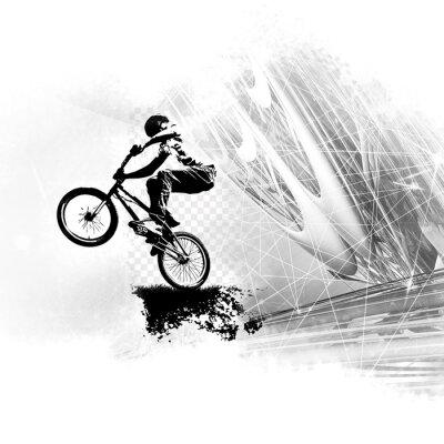 Naklejka Młody mężczyzna skoczek rowerowy. Zdrowy tryb życia.