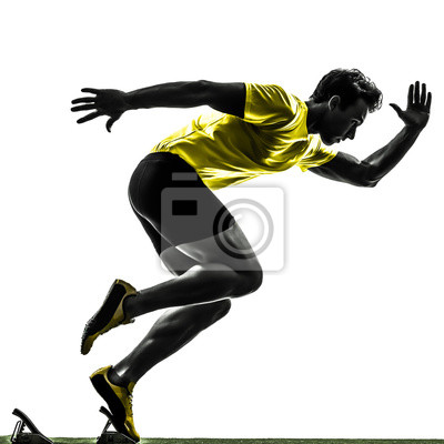 Młody mężczyzna sprinter lekkoatleta w bloki startowe sylwetkę