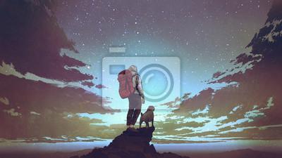 Naklejka młody turysta z plecakiem i pies stojący na skale i patrząc na gwiazdy na nocnym niebie, cyfrowy styl sztuki, ilustracja malarstwo