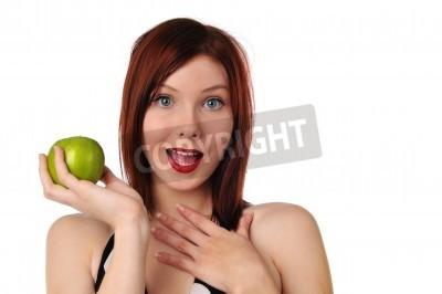 Naklejka Młodych rudowłosy kobieta jabłko wyizolowanych na białym tle