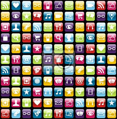 Mobile phone app icons tle wzór