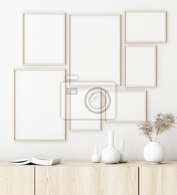 Naklejka Mock up poster frame in living room interior. Interior Scandinavian style. 3d render