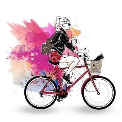 Naklejka Moda dziewczyna w stylu szkic na kolorowe tło.