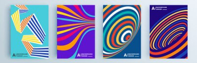 Naklejka Modern abstract covers set, minimal covers design. Colorful geometric background, vector illustration.