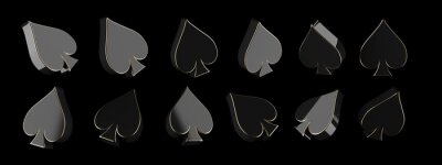Naklejka Modern Aces Playing Cards Symbol. Black And Golden Spades Rotation, Isolated On The Black Background - 3D Illustration