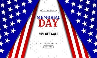 Naklejka Modern background for the USA Memorial Day sale banner template design