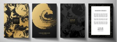 Naklejka Modern black cover design set. Creative abstract art pattern with gold brush stroke (golden calligraphy texture) on background. Grunge vector collection for catalog, brochure template, magazine layout
