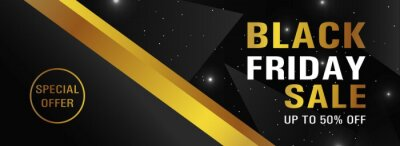 Modern black friday banner with gold and black background