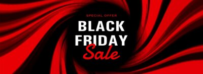 Modern black friday banner with red abstract shapes