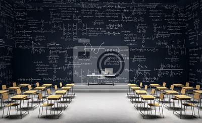 Naklejka Modern classroom with math formulas